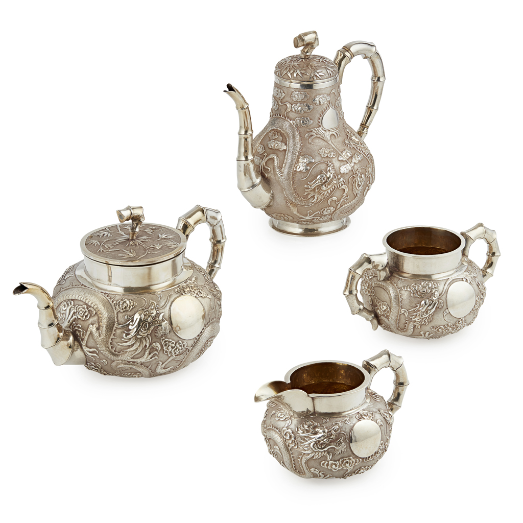 Lot 27-FINE THREE-PIECE EXPORT SILVER TEA SERVICE