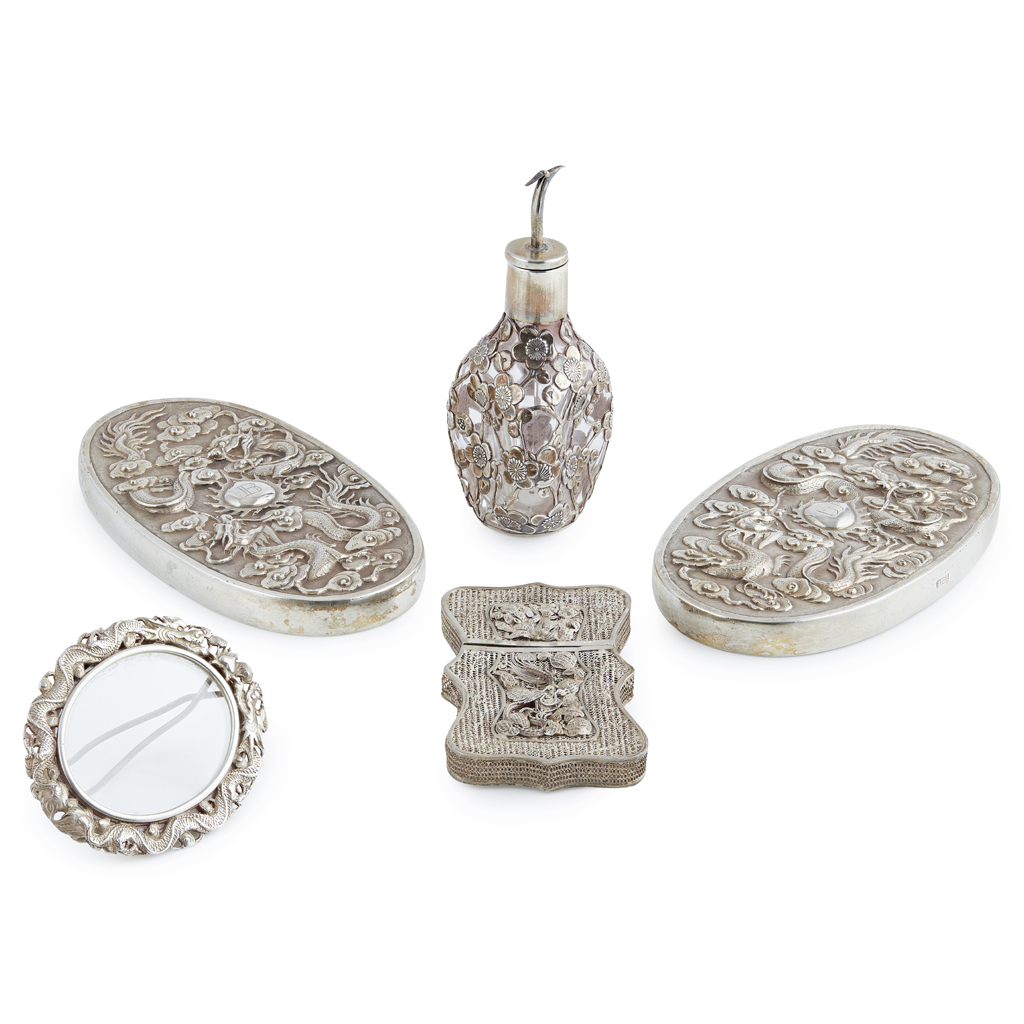 Lot 46-MISCELLANEOUS GROUP OF EXPORT SILVER ARTICLES