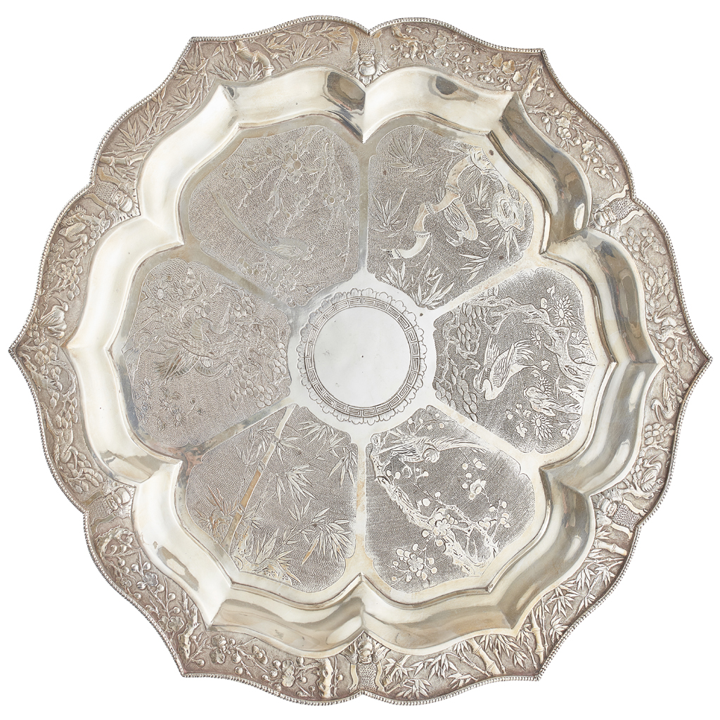 Lot 30-LARGE EXPORT SILVER TRAY