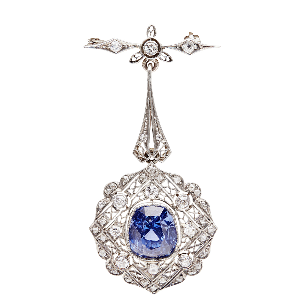 Lot 44-A sapphire and diamond set pendant brooch