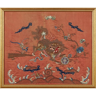 Lot 33-TWO EMBROIDERED RUST-GROUND SILK PANELS
