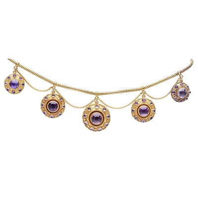 Lot 47 - A Victorian amethyst set necklace and matching earrings