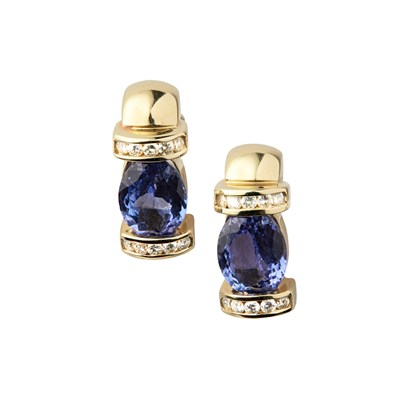 Lot 64 - A pair of contemporary Tanzanite and diamond set earrings