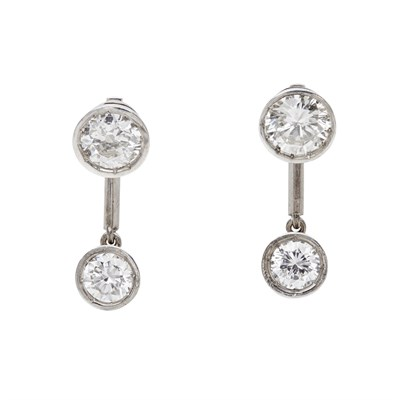 Lot 80 - A pair of diamond set pendant earrings
