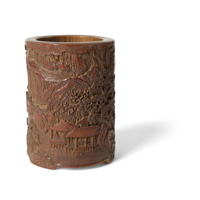 Lot 21-CARVED BAMBOO BRUSH POT