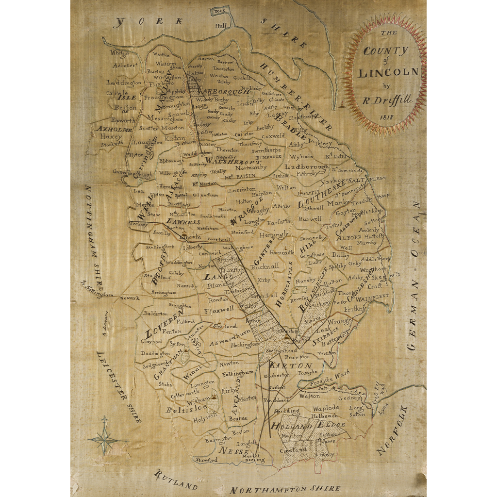 Lot 29-LINCOLNSHIRE - EMBROIDERED SILK MAP