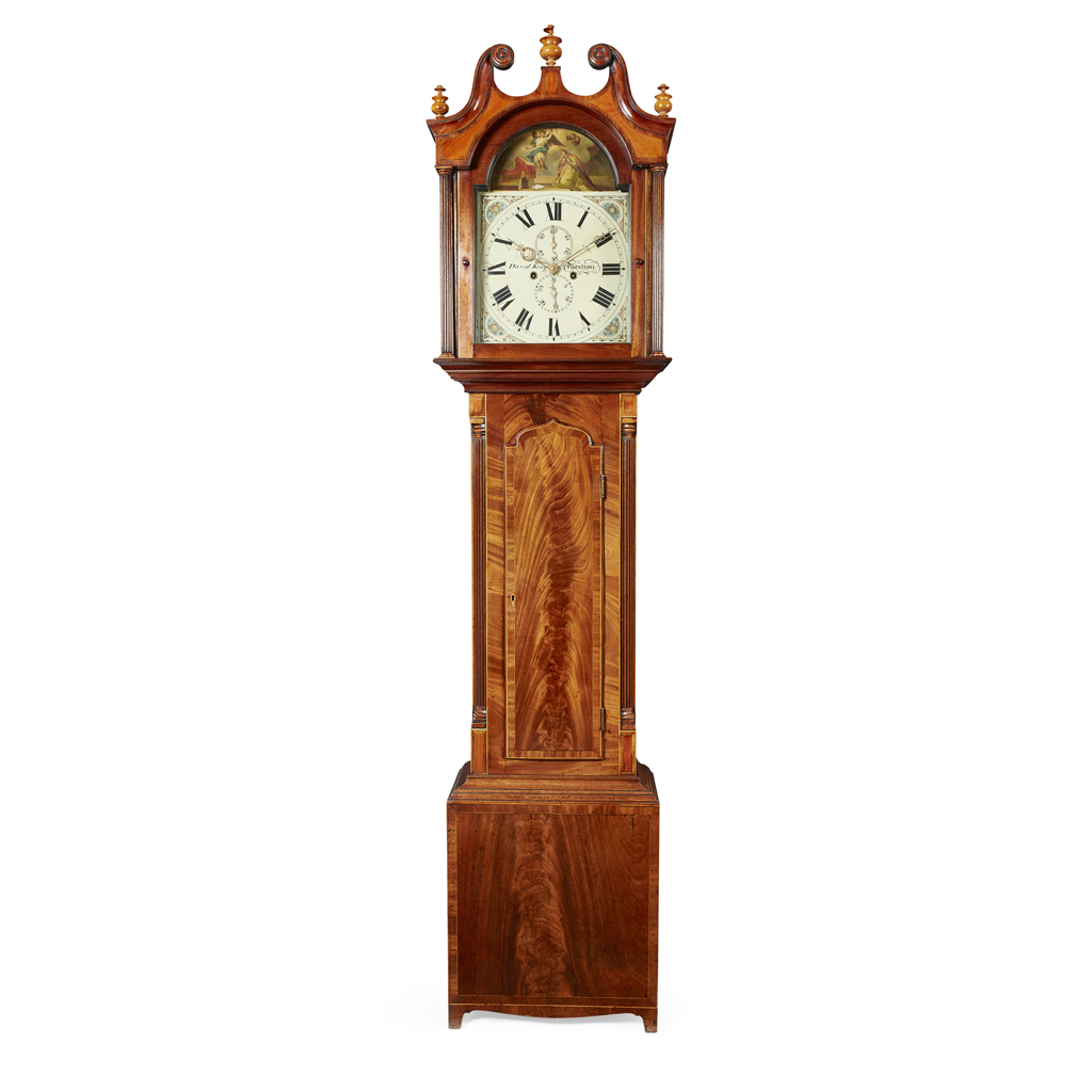 Lot 11-DAVID KING, MONTROSE MAHOGANY LONGCASE CLOCK,...