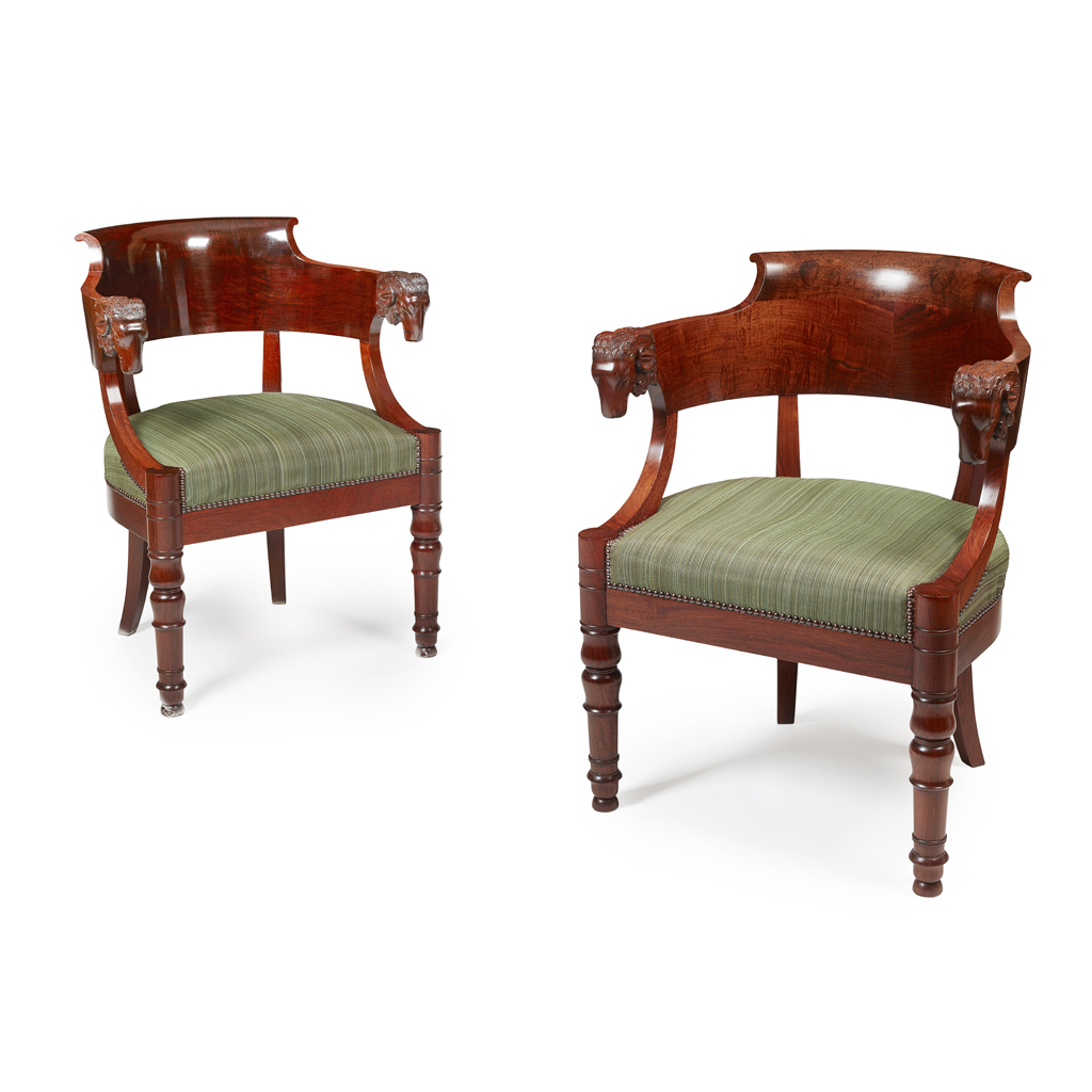 Lot 10-PAIR OF EMPIRE STYLE MAHOGANY OPEN ARMCHAIRS 20TH ...