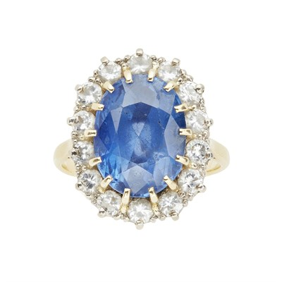 Lot 46-A sapphire and diamond set cluster ring