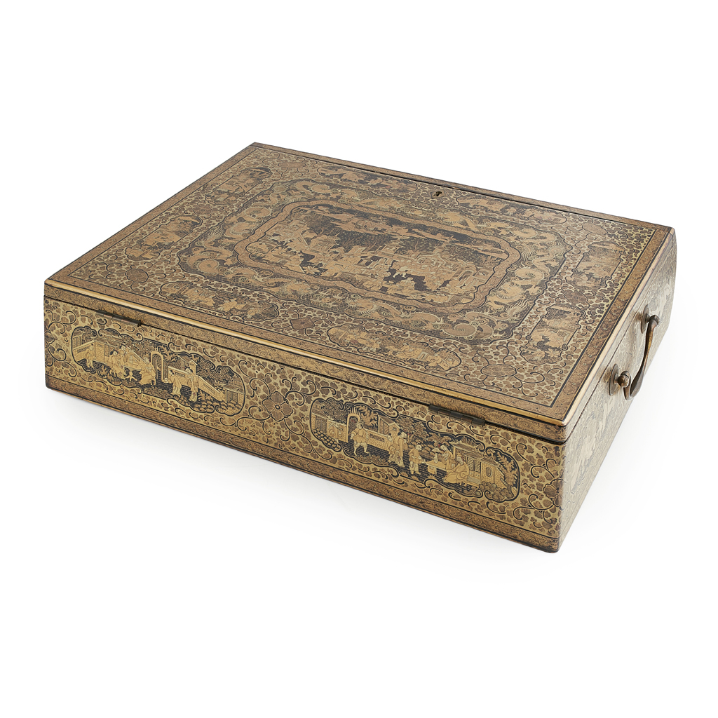 Lot 1-CANTON LACQUER WRITING BOX AND HINGED COVER