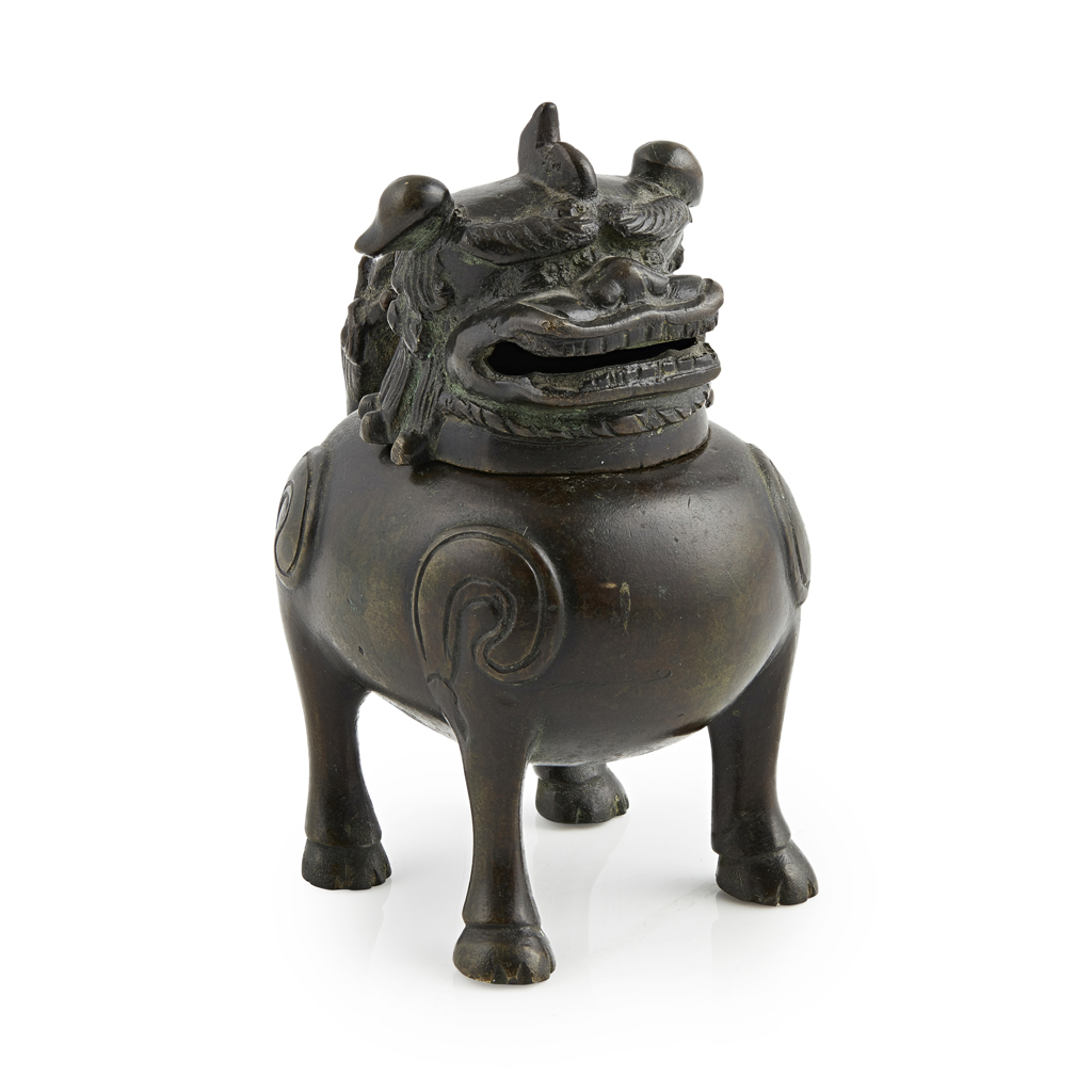 Lot 42 - BRONZE 'BUDDHIST LION' CENSER AND COVER