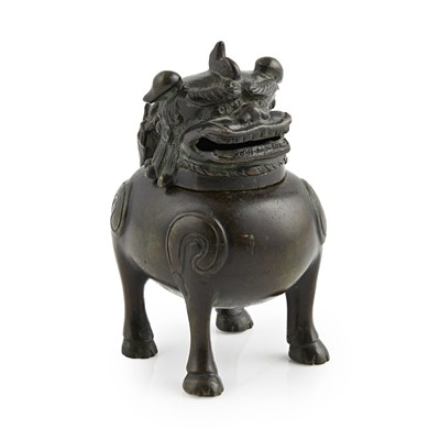 Lot 42-BRONZE 'BUDDHIST LION' CENSER AND COVER