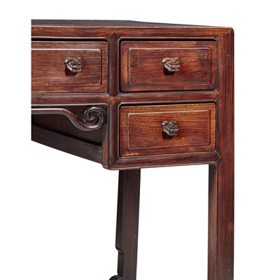 Lot 8-HARDWOOD FIVE-DRAWER DESK