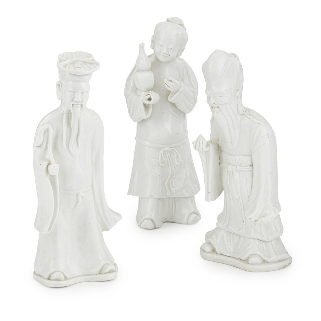 Lot 73 - THREE BLANC-DE-CHINE FIGURES