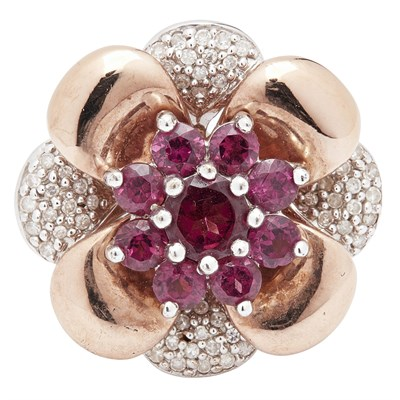 Lot 97-A 9ct gold garnet and diamond set cluster ring