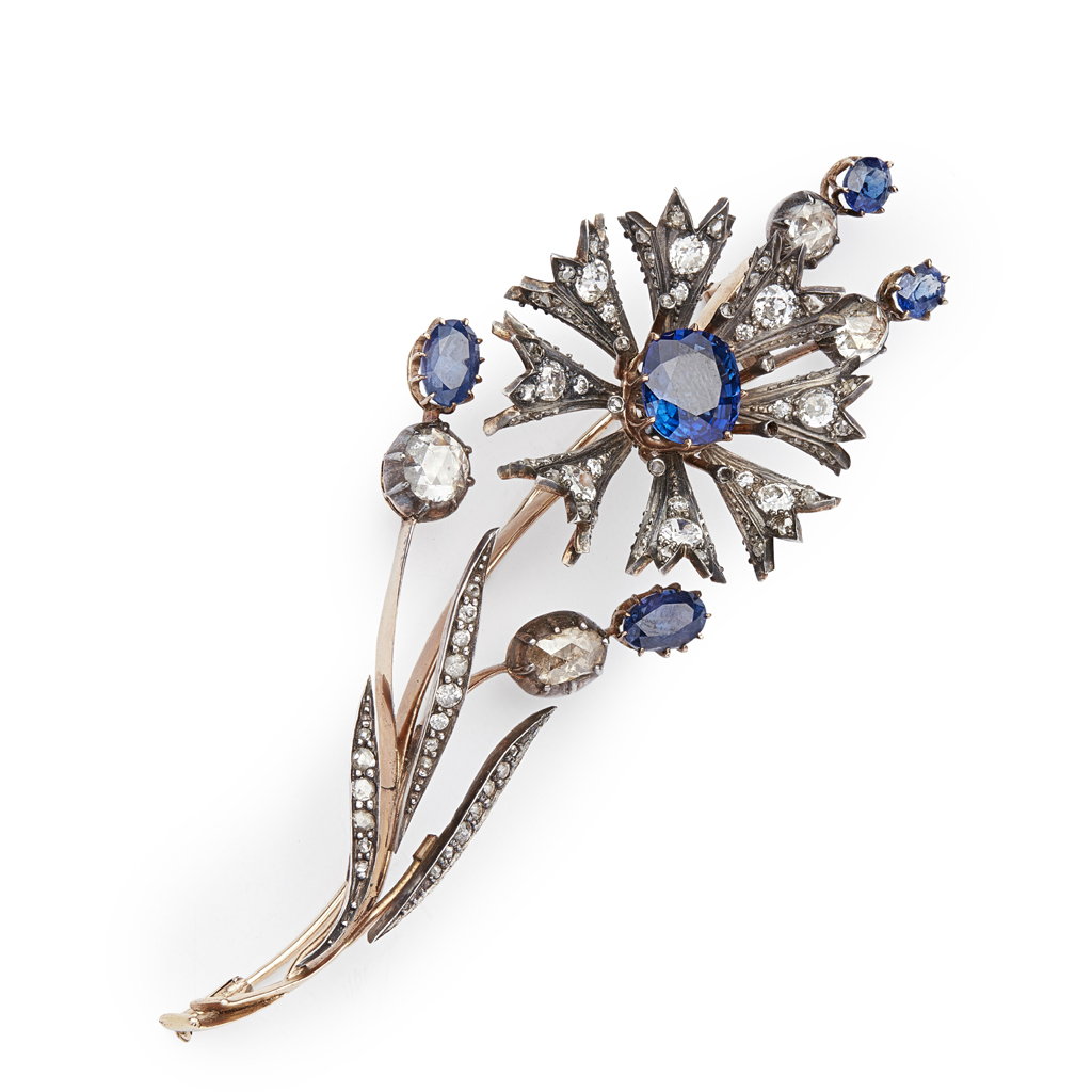 Lot 7 - A Victorian sapphire and diamond set floral spray brooch