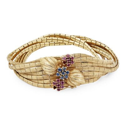 Lot 21 - A mid-20th century ruby and diamond set bracelet