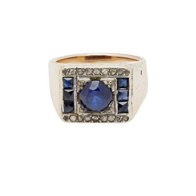 Lot 76 - A gentleman's synthetic sapphire and diamond set ring