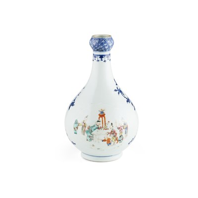 Lot 107 - FAMILLE ROSE DECORATED BLUE AND WHITE VASE