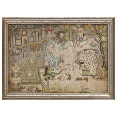 Lot 1-NEEDLEWORK PANEL OF SUSANNA AND THE ELDERS