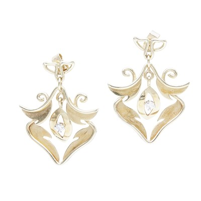 Lot 29-A pair of bespoke 18ct gold diamond set earrings, Margot Gardiner