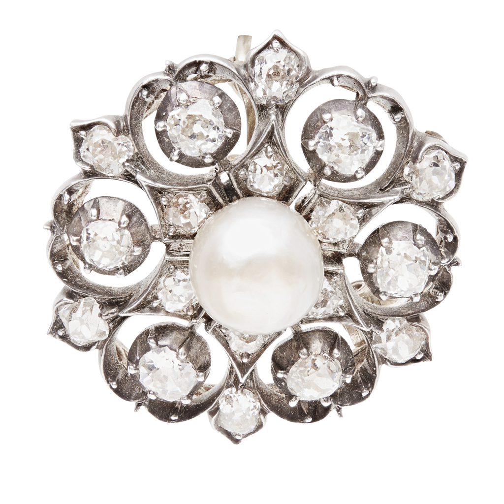 Lot 57-A Victorian pearl and diamond set brooch