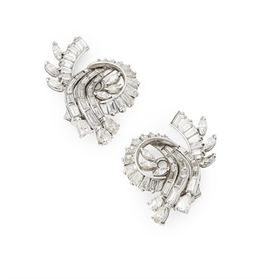 Lot 23 - A pair of 1950s diamond set clip earrings