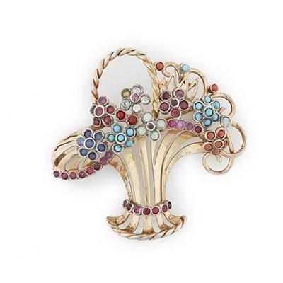 Lot 96-A 1950s multi-gem set giardinetto brooch