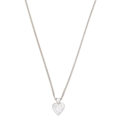 Lot 53 - A diamond set heart shaped pendant