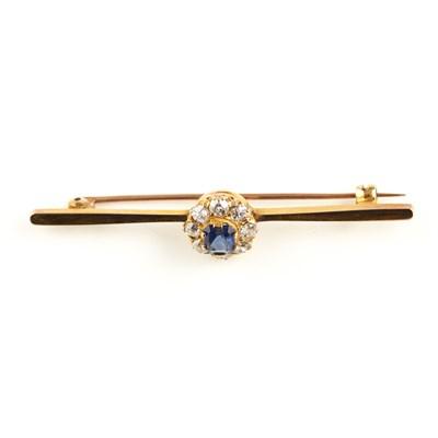 Lot 60-A sapphire and diamond set bar brooch
