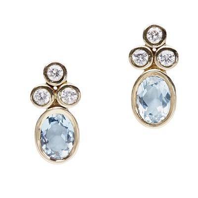 Lot 27 - A pair of diamond and aquamarine earrings