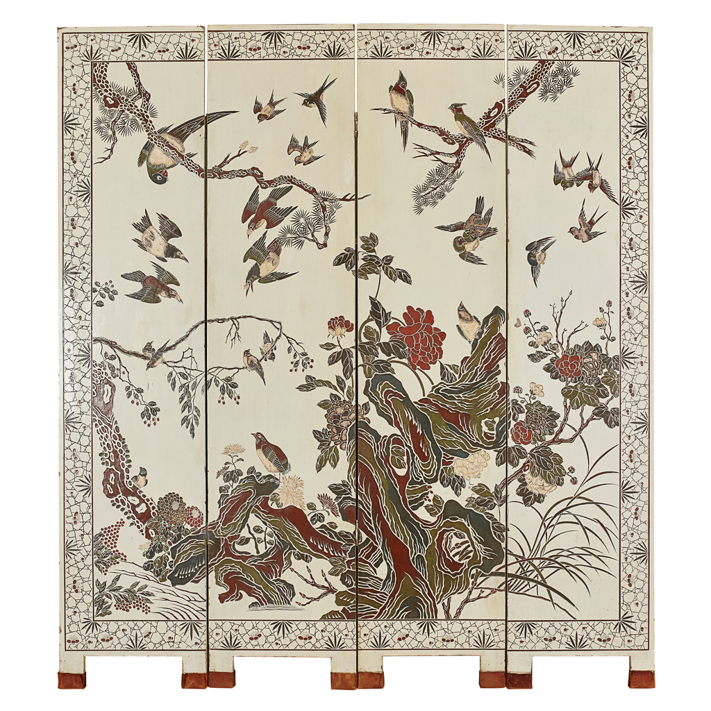 Lot 1-COROMANDEL LACQUER FOUR-PANEL SCREEN