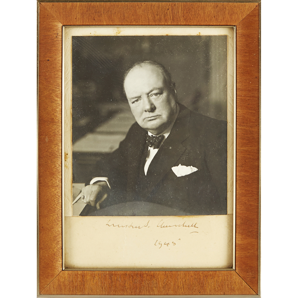 Lot 290 - CHURCHILL, SIR WINSTON SALEROOM NOTICE: PHOTOGRAPH HAS BEEN TRIMMED AND APPLIED TO A SECONDARY MOUNT SIGNED BY CHURCHILL WITH THE STONEMAN STAMP TO THE REVERSE