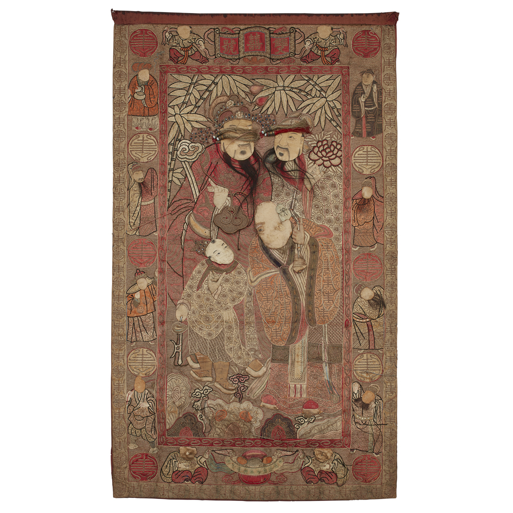 Lot 29-EMBROIDERED SILK 'THREE STAR GODS' PANEL