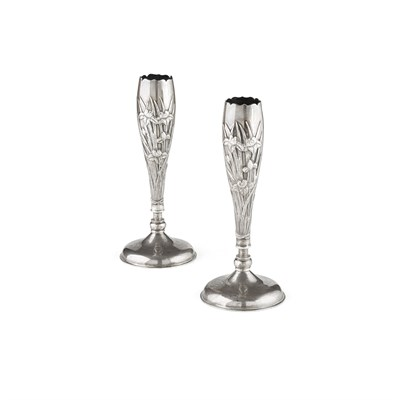 Lot 35-PAIR OF EXPORT SILVER VASES
