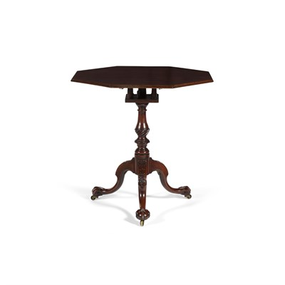 Lot 21-GEORGE III MAHOGANY OCTAGONAL BIRDCAGE TRIPOD TABLE