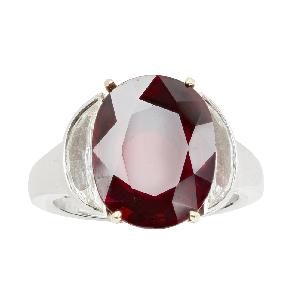 Lot 40 - A diamond and ruby ring, by Boodles