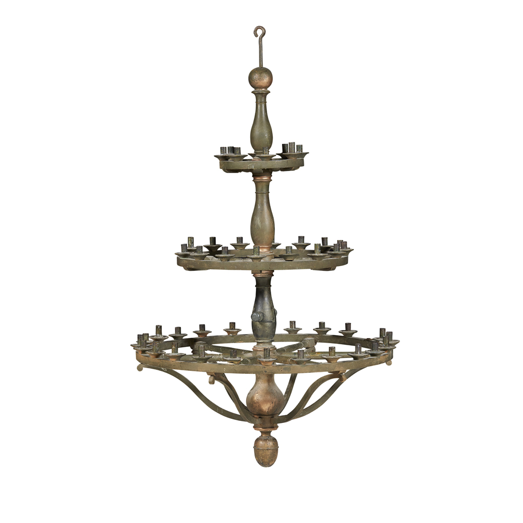 Lot 8-LARGE PAINTED AND PARCEL GILTWOOD AND TOLE CHANDELIER