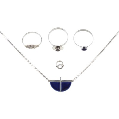 Lot 14 - A collection of silver and gem set jewellery