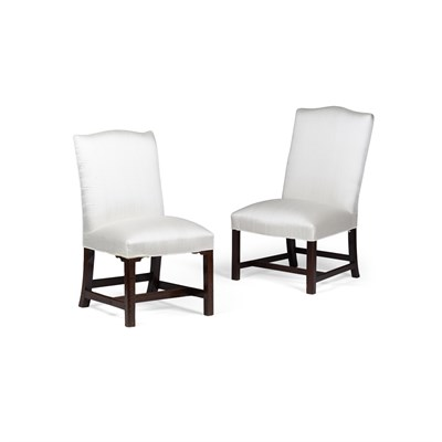Lot 52-MATCHED PAIR OF GEORGE III MAHOGANY UPHOLSTERED SIDE CHAIRS