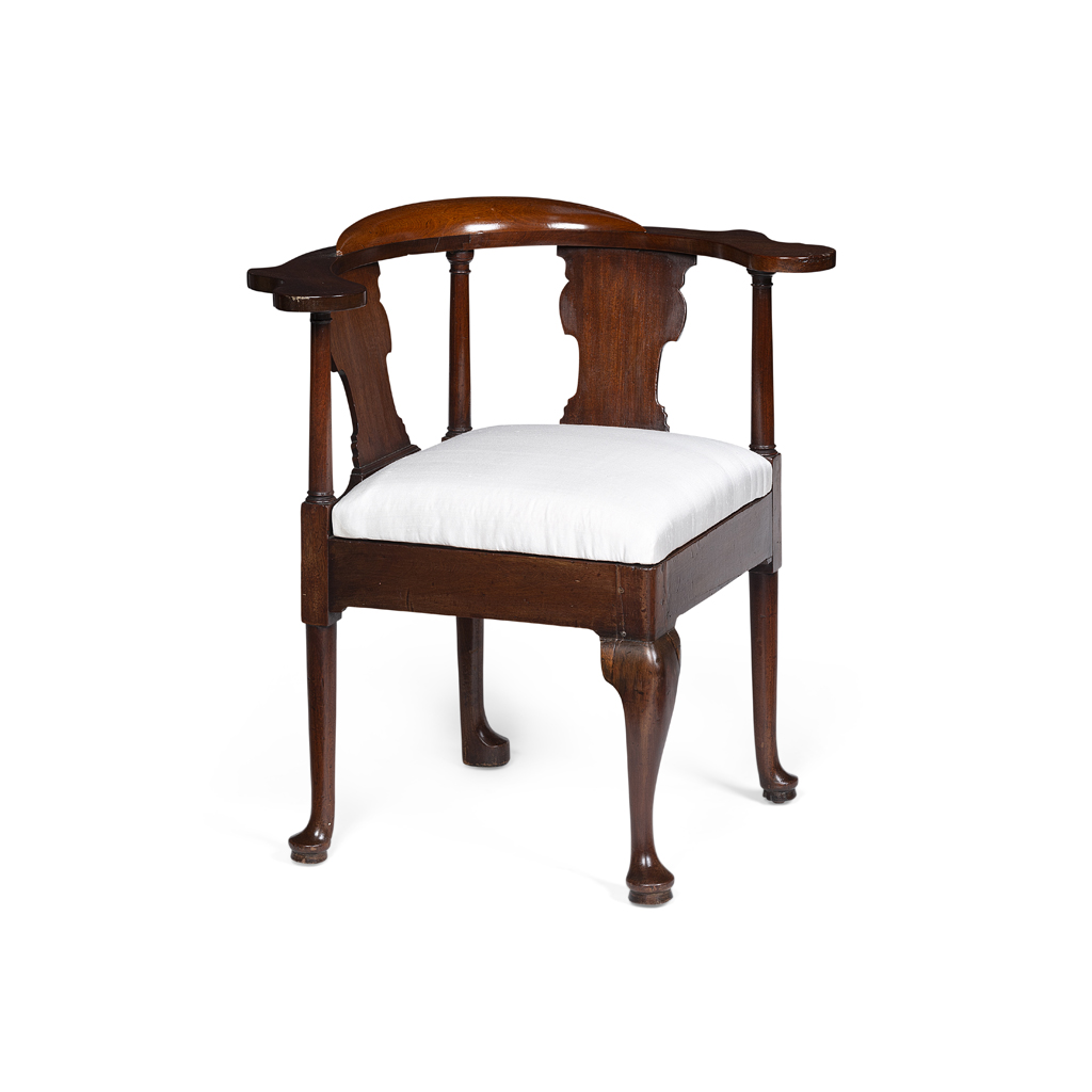 Lot 9-GEORGE II MAHOGANY CORNER ARMCHAIR