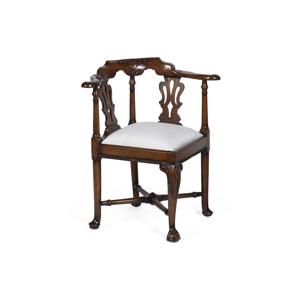Lot 6-GEORGE II WALNUT CORNER ARMCHAIR
