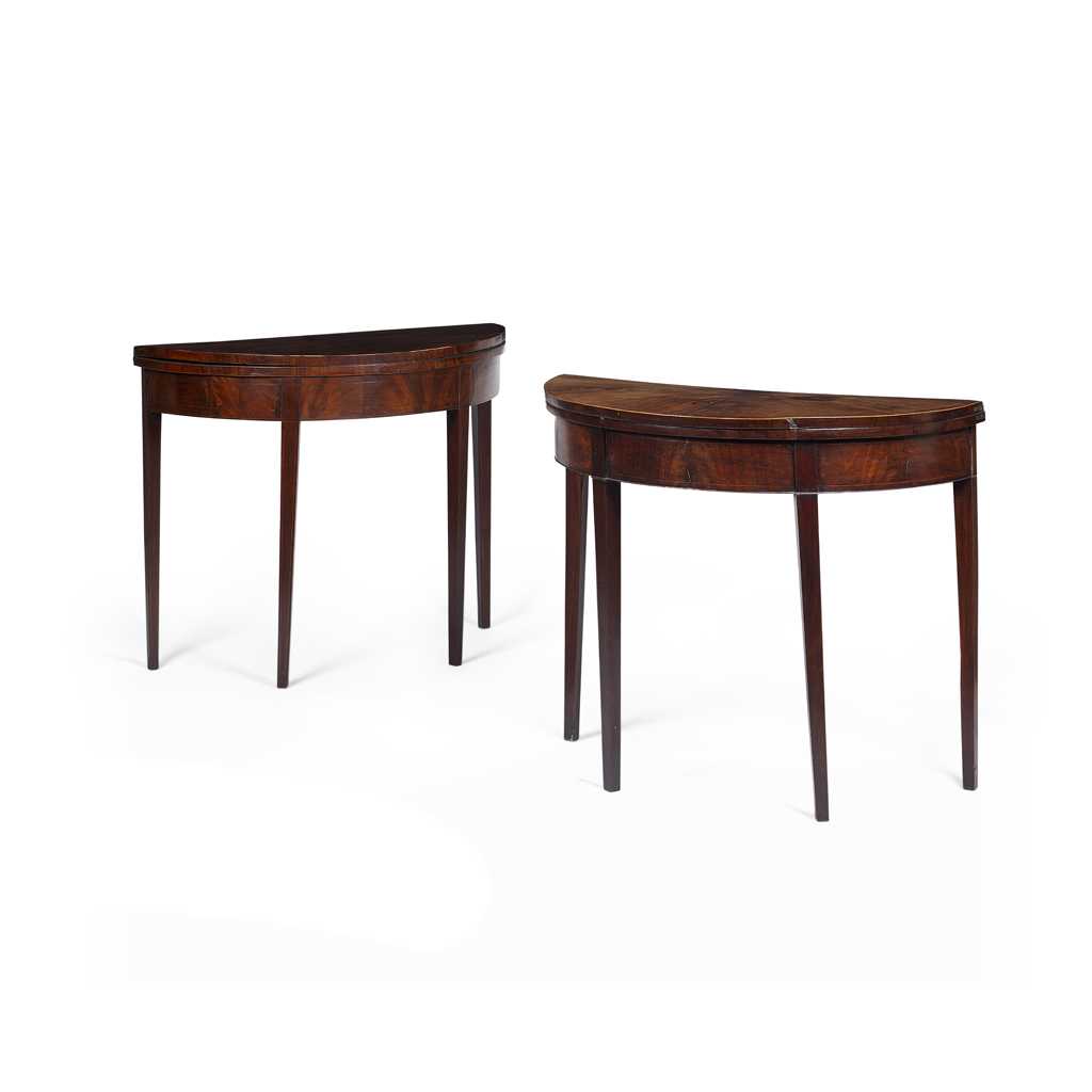 Lot 38-MATCHED PAIR OF GEORGE III MAHOGANY DEMILUNE CARD TABLES
