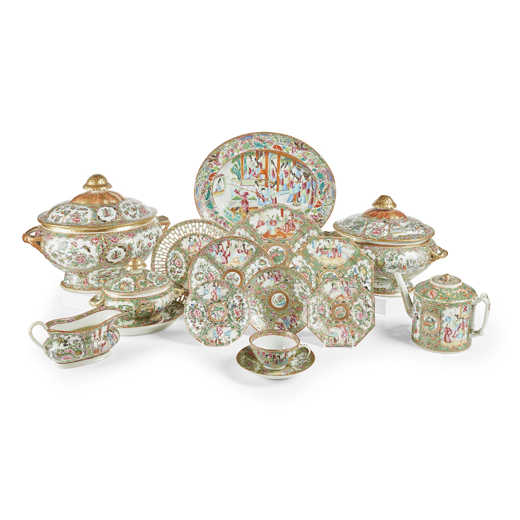 Lot 17-ASSEMBLED CHINESE EXPORT FAMILLE ROSE PORCELAIN PART DINNER AND TEA SERVICE