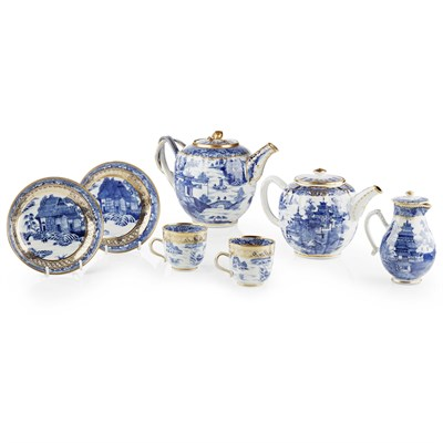 Lot 66-ASSEMBLED CHINESE EXPORT BLUE AND WHITE PART TEA AND COFFEE SERVICE