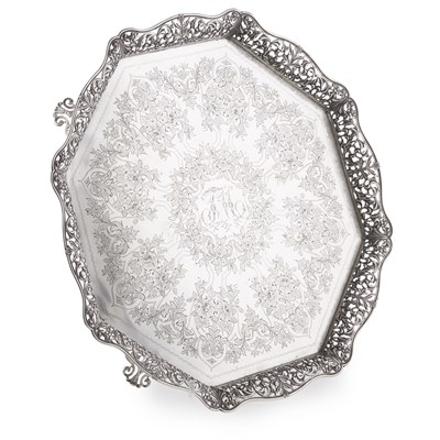 Lot 49-LARGE PORTUGUESE SILVER OCTAGONAL TRAY