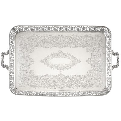 Lot 50-LARGE SILVER TWIN-HANDLED TRAY