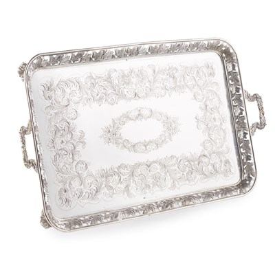 Lot 51-LARGE PORTUGUESE SILVER TWIN-HANDLED TRAY