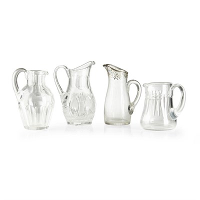 Lot 89-GROUP OF FOUR CUT-GLASS JUGS