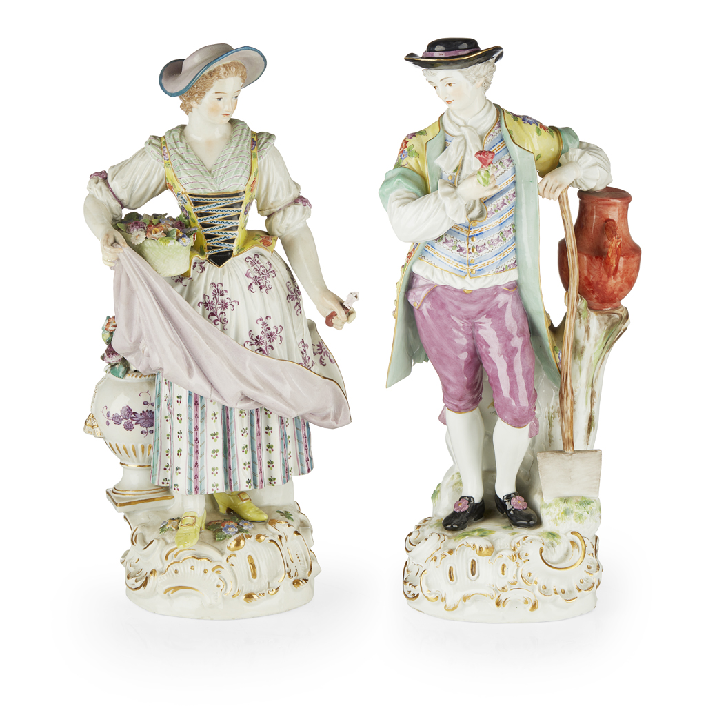 Lot 22-PAIR OF MEISSEN FIGURES OF A GARDENER AND COMPANION